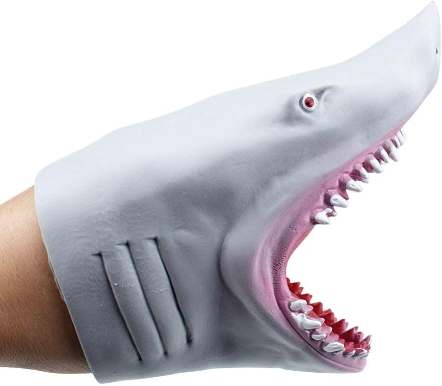 Fine Shark Hand Puppet Set Role Play Toys, Soft Rubber Realistic Shark and PlushToys, Animal Puppets Rubber Storytelling Game Props