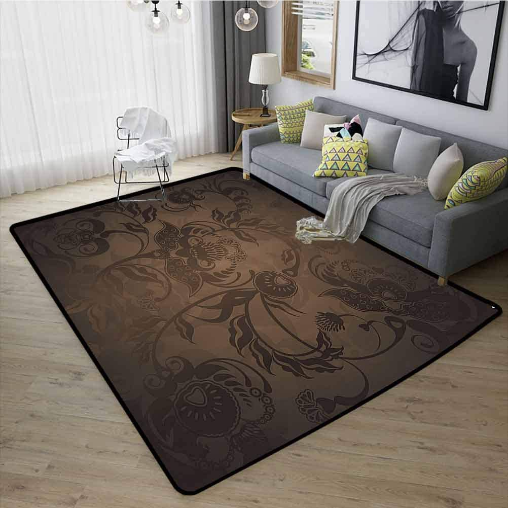 Victorian Decor Washable Carpet, Versatility, Warm and Cozy Easy Clean Rubber Back for Girls Rooms Kids Rooms Nursery Floral Paisley Ivy Design Leaves with Abstract Details Print, W35 x L47