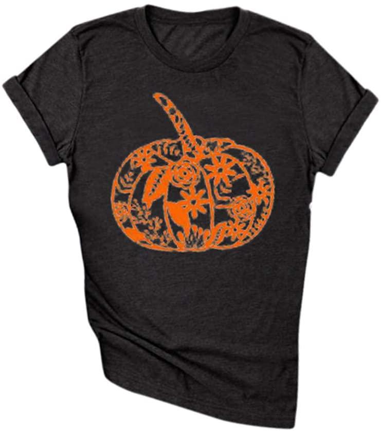 YAnGSale Tops Women Shirt Halloween Thanksgaving T-Shirt Pumpkin Printing Blouse Fun Tees Top O Neck Pullover