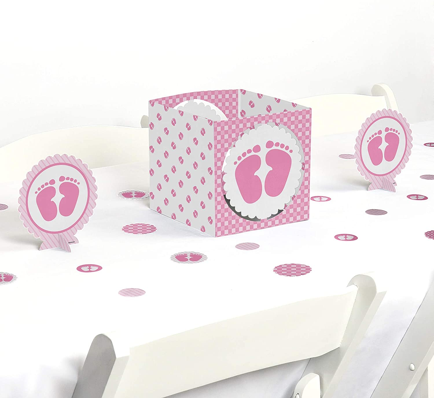 Big Dot of Happiness Baby Feet Pink - Baby Shower Centerpiece & Table Decoration Kit