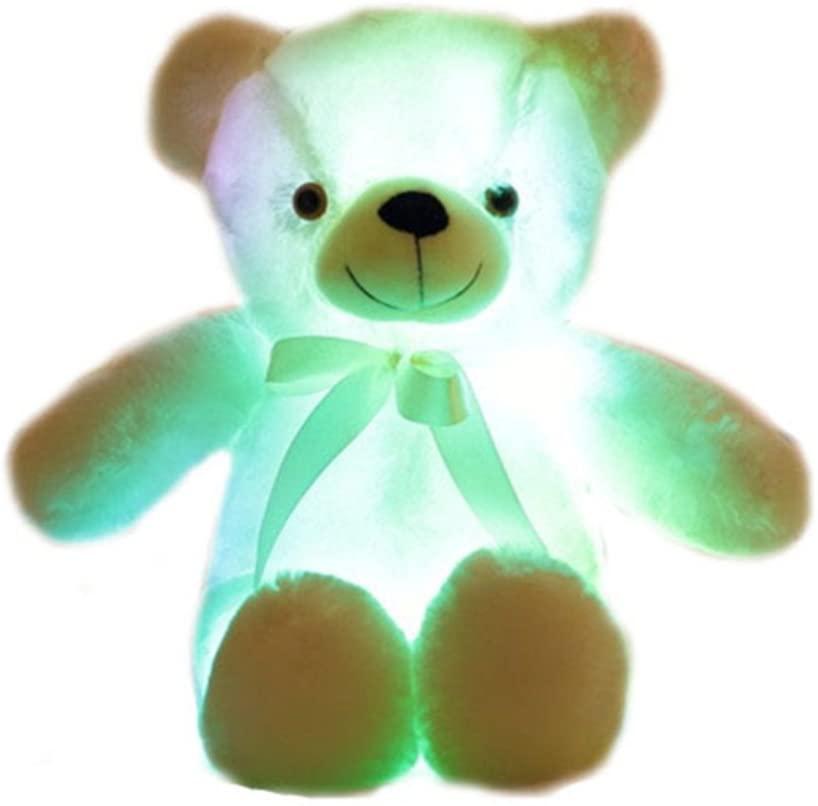 elfishgo Creative Light Up LED Inductive Teddy Bear Stuffed Animals Plush Toy Colorful Glowing Teddy Bear, 20- Inch(White)