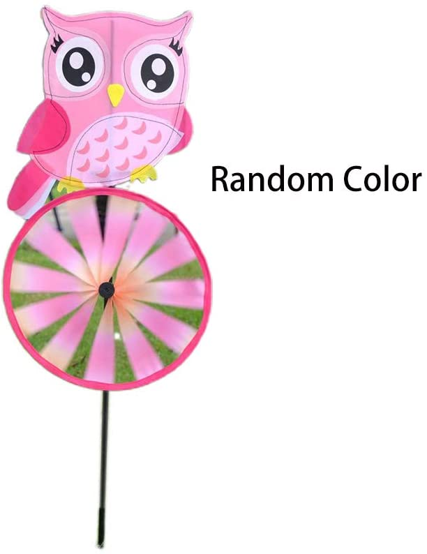 QINYUAN Garden Spinner Wind Stake, Owl Cycling Windmill Yard Lawn Decor Outdoor Toys Kids Children Gifts