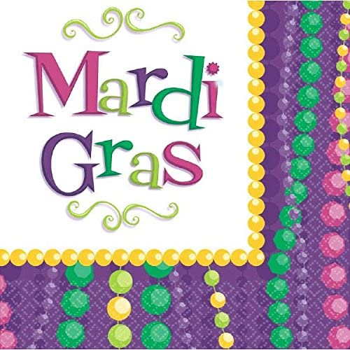Amscam Mardi Gras Celebration Lunch Napkins, Multicolor