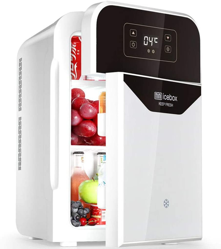 22L Mini Fridge, Portable Little Refrigerator Personal Refrigerator and Heater Freezer Suitable for Car Dorm Office Family-Silver