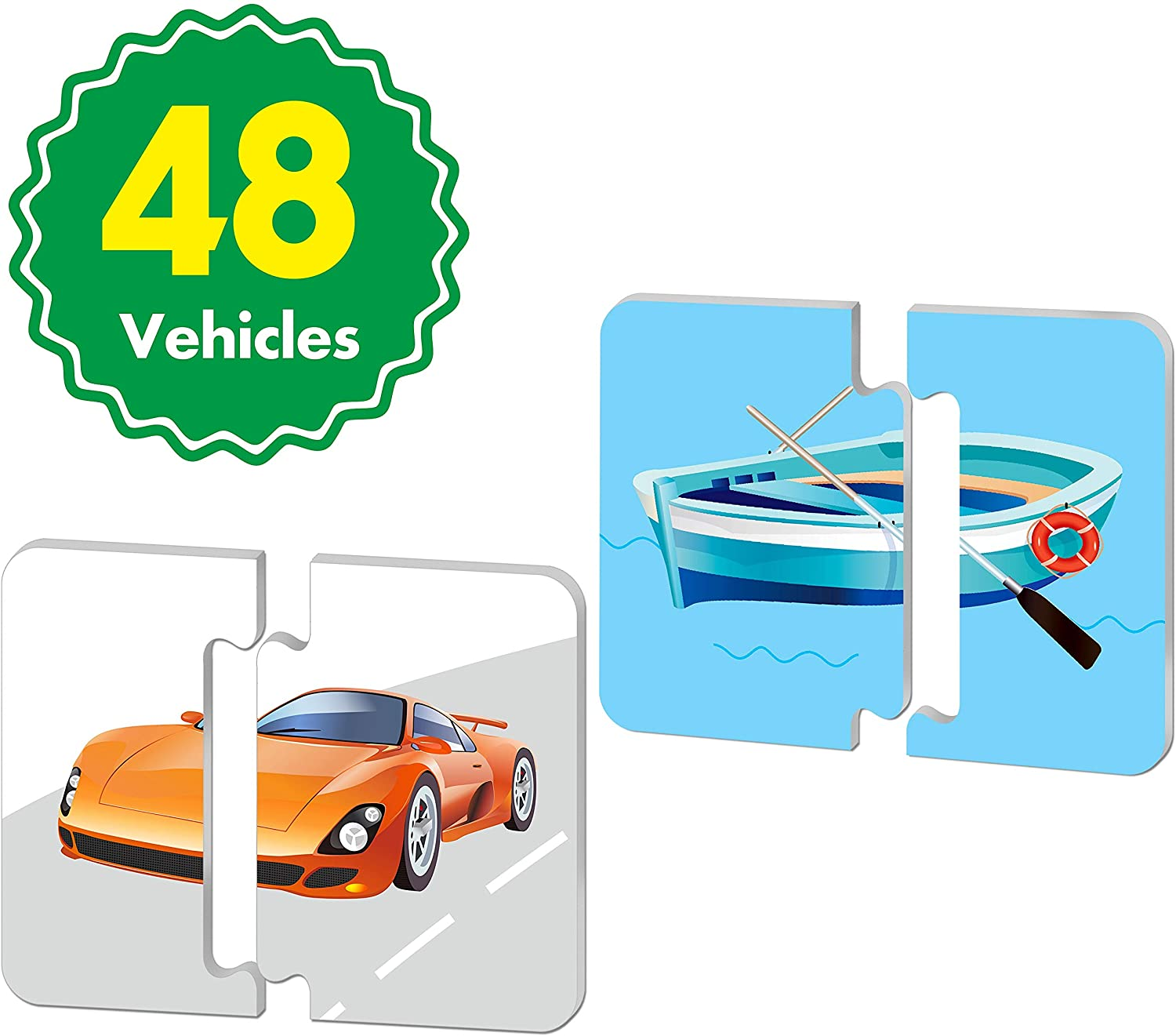 48 Vehicle Matching Puzzles with Error-Correction Mechanism Pre-Primer in 2 Pieces, Perfect for Preschool Learning (24 Blocks Double Sided) …