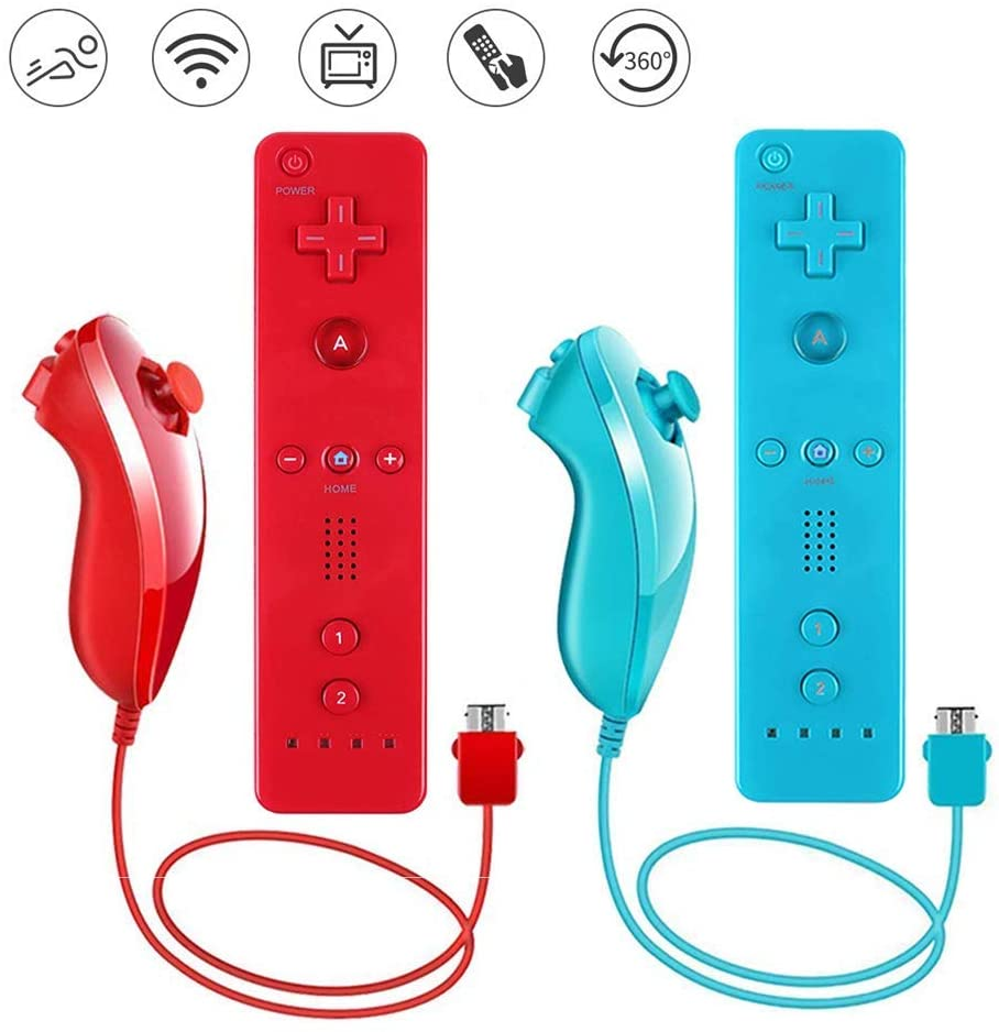 Lactivx Wii Remote Controller,2 Packs Wireless Gesture Controller with Silicone Case and Wrist Strap for Nintendo Wii Wii U Console (Blue and Red) (Renewed)