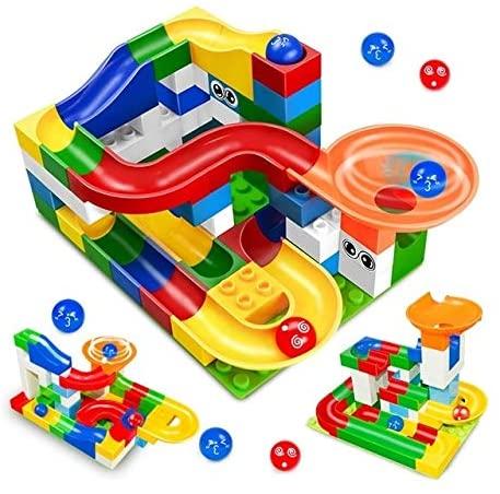 Intelligence Toys Great 52 PCS/Set Construction Marble Race Run Maze Balls Track Building Blocks Big Size Educational Bricks