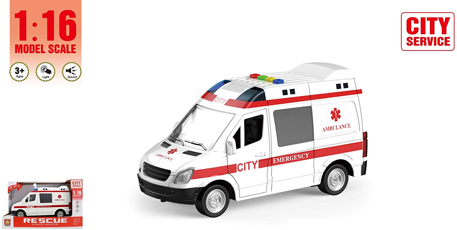 P&F 1:16 Model Scale Friction Powered City Service Rescue Emergency Ambulance Vehicle Car with Advanced Simulation Light & Sound