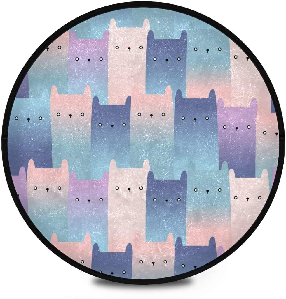 Shaggy Round Mat Cute Cat Cartoon Circular Carpet for Kids Bathroom Anti-Slip Rug Room Carpets Play Mat