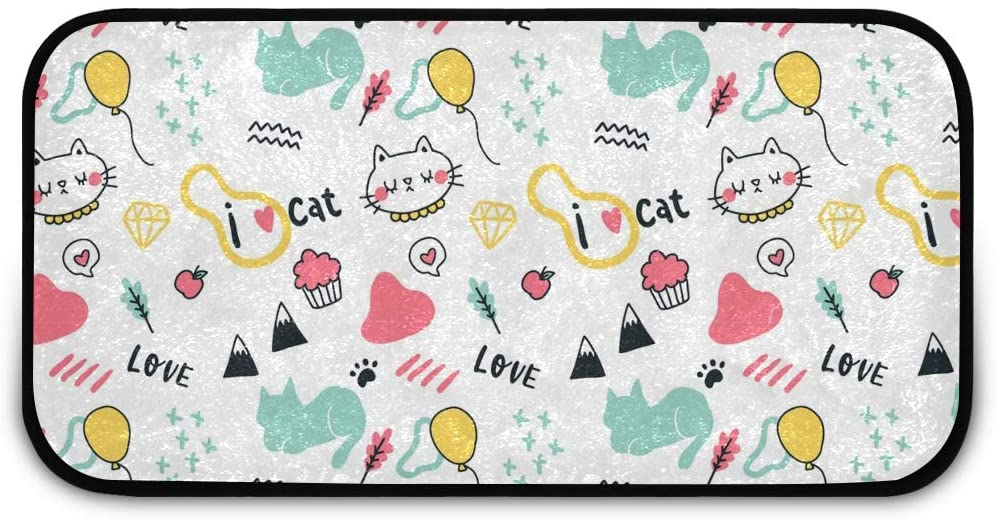 Rectangle Shaggy Rug Runner Carpet for Kids Cartoon Cat Laundry Room Anti-Slip Rug Rectangle Carpet Play Mat