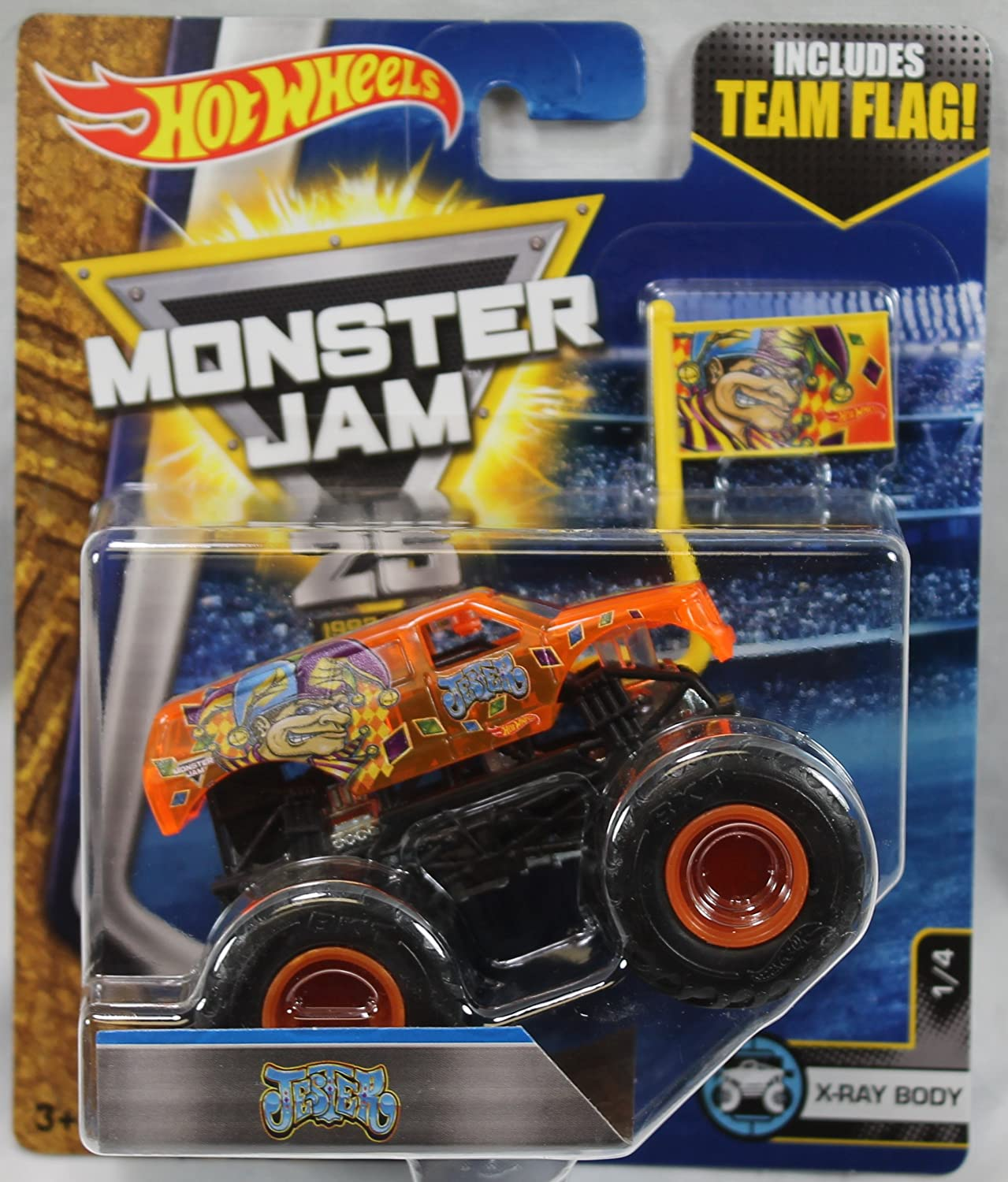 2017 Hot Wheels Monster Jam 1:64 Scale Truck with Team Flag - Jester