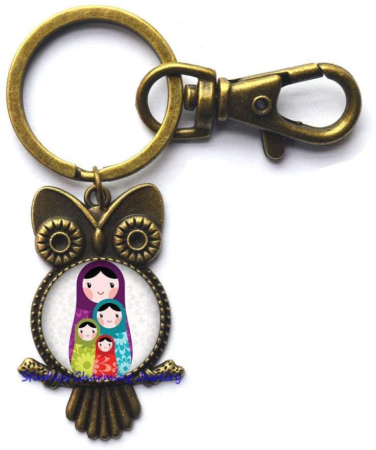 Russian Nesting Doll Matryoshka Babushka Russian Stacking Dolls Glass Tile Key Ring Owl Keychain,Bridesmaid Gift Birthday gift-JV214