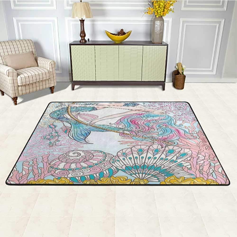 Mermaid Outdoor Carpet Waterproof 6' x 9', Cartoon Mermaid in Sea Sirens of Greek Myth Female Human with Tail of Fish Image Kids Play Rug, Pink Blue
