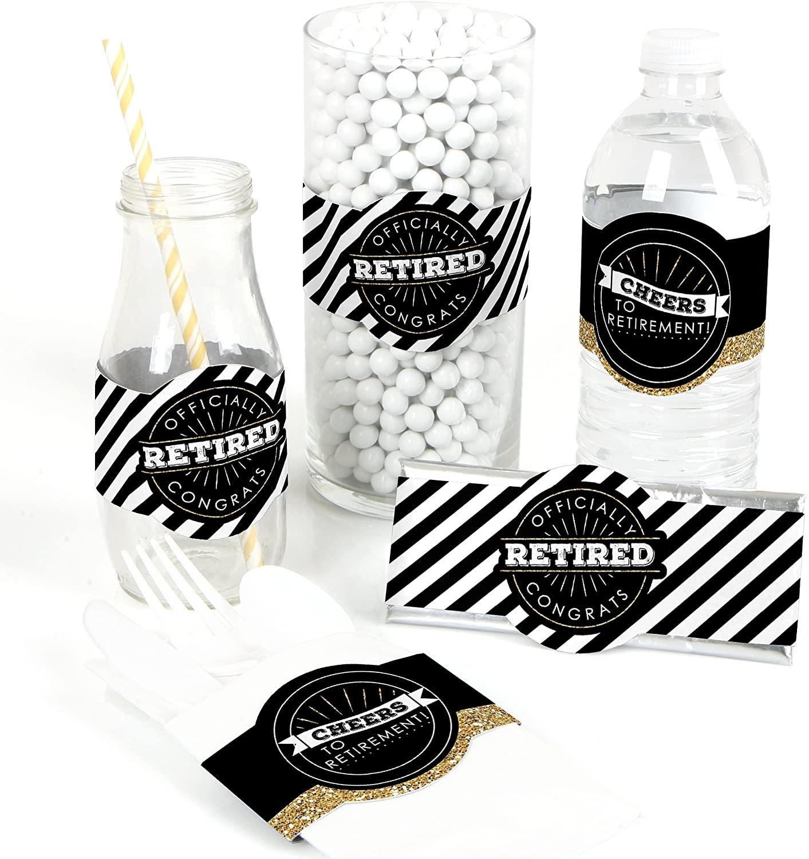 Happy Retirement - DIY Party Supplies - Retirement Party DIY Wrapper Favors & Decorations - Set of 15