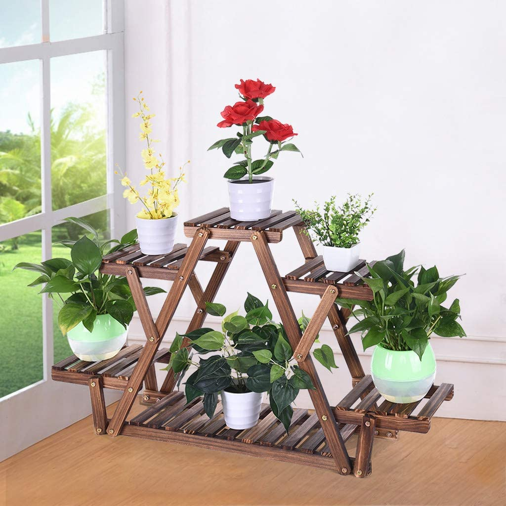 3 Tier Bamboo Plant Stand Folding Flower Rack Shelf Indoor Outdoor Garden Greenhouse Pot Racks Planter Organizer Shelving Unit, Easy Assembled (Wood)