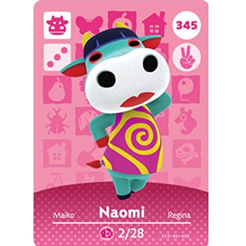 BestTom No.345 Naomi ACNH Animal Villager Card Fan Made.Third Party NFC Card Bank Card Size Water Resistant for Switch/Switch Lite/Wii U