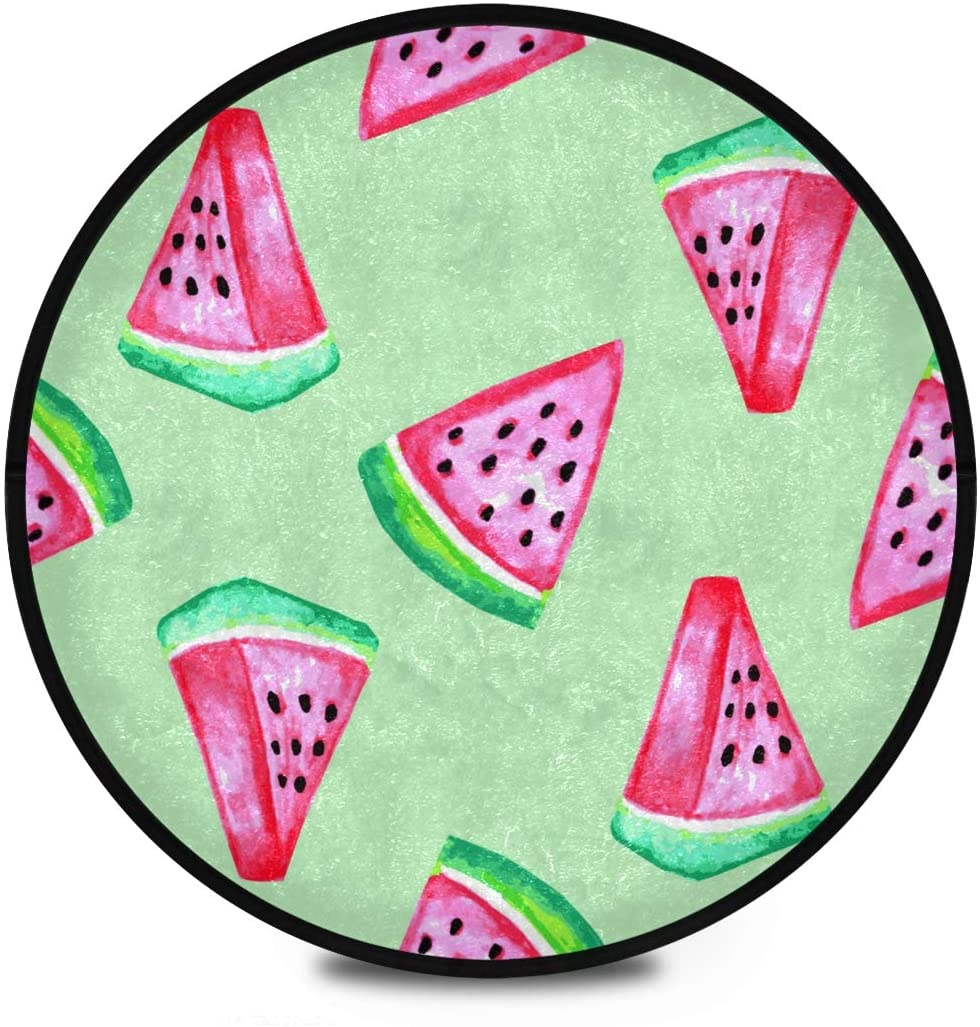 Shaggy Round Mat Watercolor Watermelon Small Round Rug for Kids Playroom Anti-Slip Rug Room Carpets Play Mat