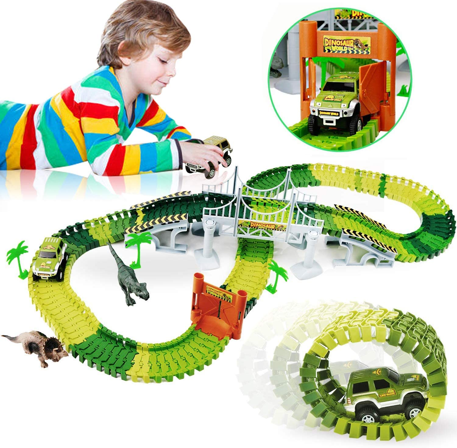 WINWONBRA Dinosaur Toys,142Pcs Race Car Flexible Track, Dinosaur Race Vehicle Track Toy Set, Dino Toys for 3 4 5 6 Years & Up Toddler Boys and Girls Toys Gifts, Girl Boy Birthday Gift