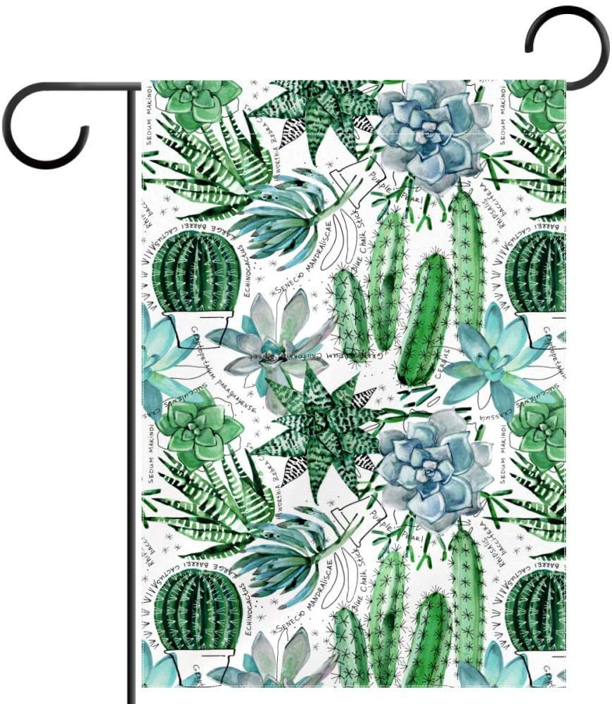 NOAON Great Double Sided Outdoor Decoration Garden Yard Flag 12x18 Inch Welcome Natural Plant Succulents Cactus