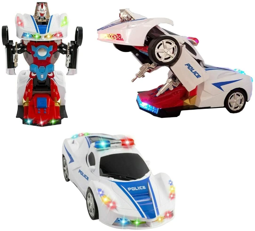Bump and Go Action Battery Operated Transforming Toys for Kids- Two in One Robot Action Figure and Racing Car Toy Vehicle- Colorful Flashing Lights and Realistic Action Sounds (White Police Car)