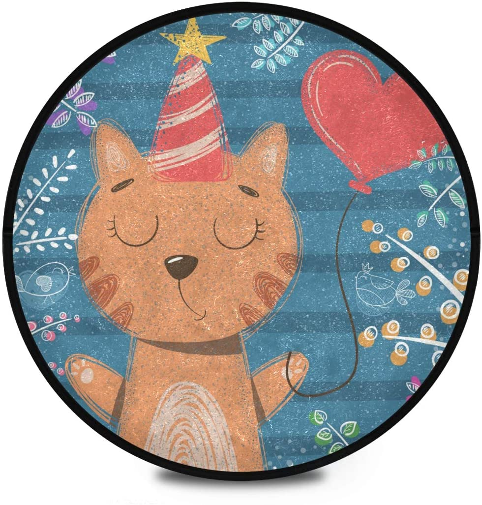 Shaggy Round Mat Cute Cartoon Animals Cat Round Area Rug for Kids Bedroom Anti-Slip Rug Room Carpets Play Mat