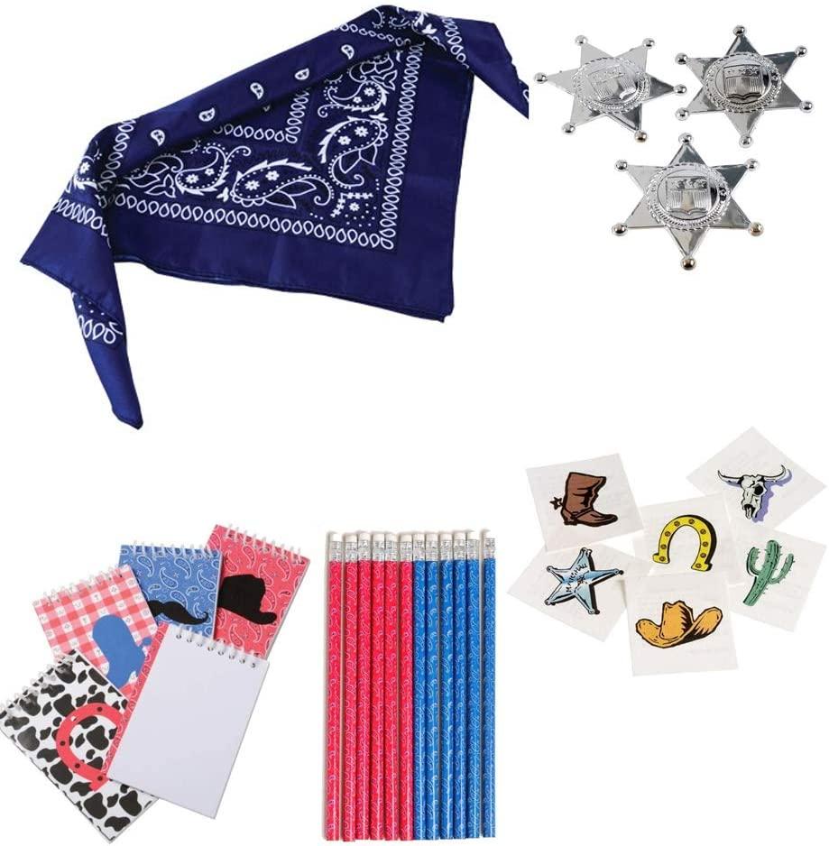Kid Fun Cowboy Toy Party Favor Supplies Set for 12 Bundle 192 Pieces Bandanas Badges Pencils Notepads