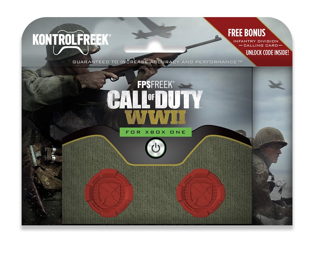 KontrolFreek FPS Freek Call of Duty: WWII for Xbox One Controller | Performance Thumbsticks | 2 High-Rise Concave | Red