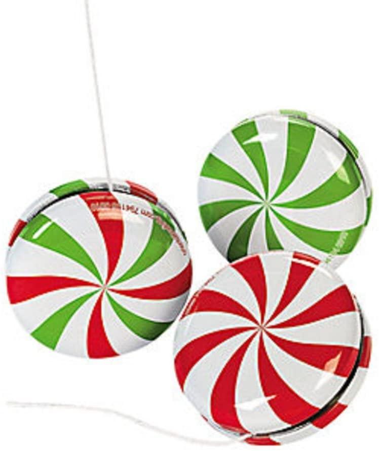 Wholesale Bulk Christmas Metal Peppermint Candy Yo Yos (24 Pack)