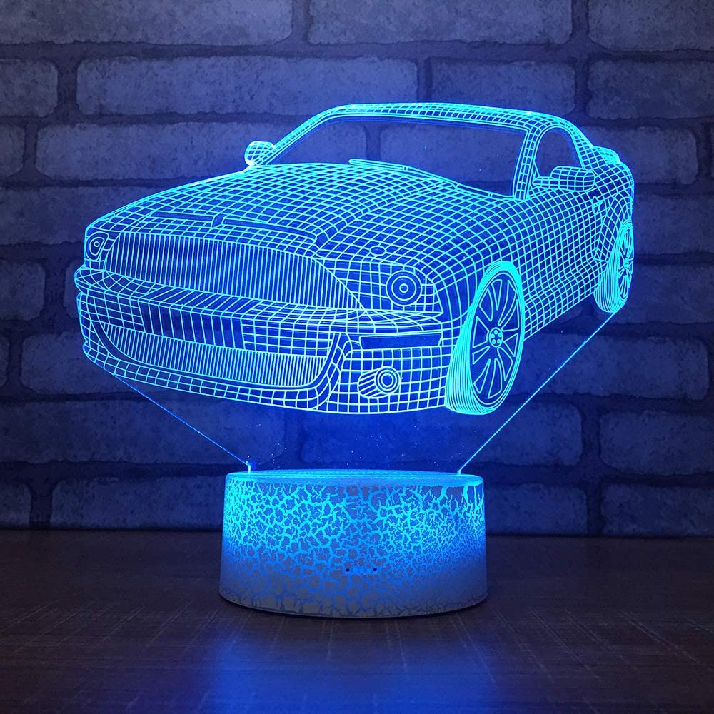 lihaohao 3D Illusion Light Led Car Styling Night Light, 16 Color Changing USB Charger Bedside Table Lamp with Remote Control, Children Christmas Birthday Gifts Home Bedroom Decoration Lamp