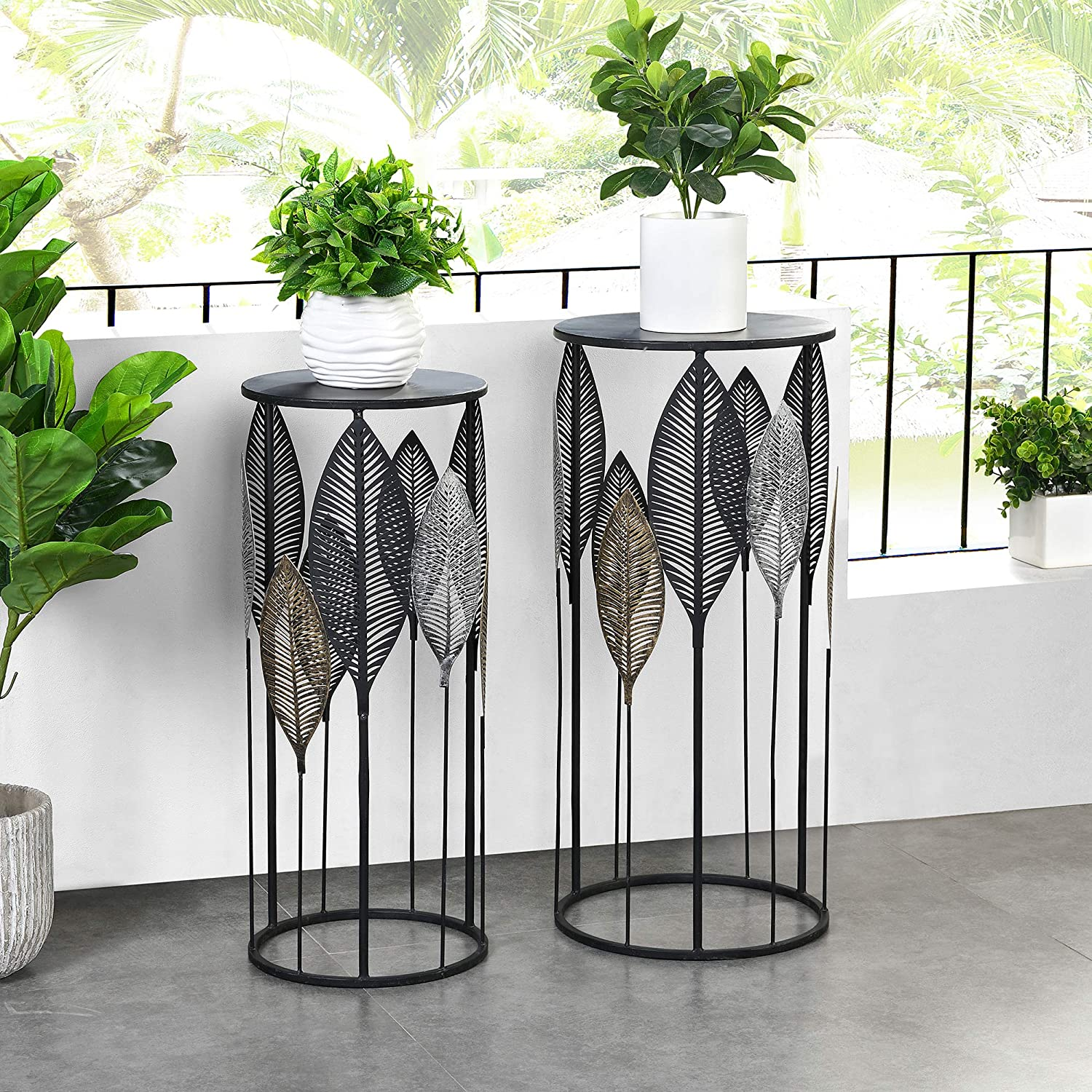 FirsTime & Co. Loraina Leaves Outdoor Plant Stand 2-Piece Set, American Crafted, Black, 12.5 x 12.5 x 27.5 ,