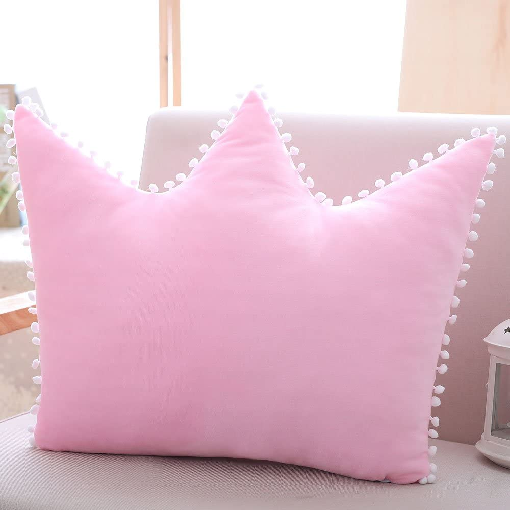 Decorative Crown Pillow Bedside Toy Cushion Princess Style Washable Sleeping Plush Pillow 19.7