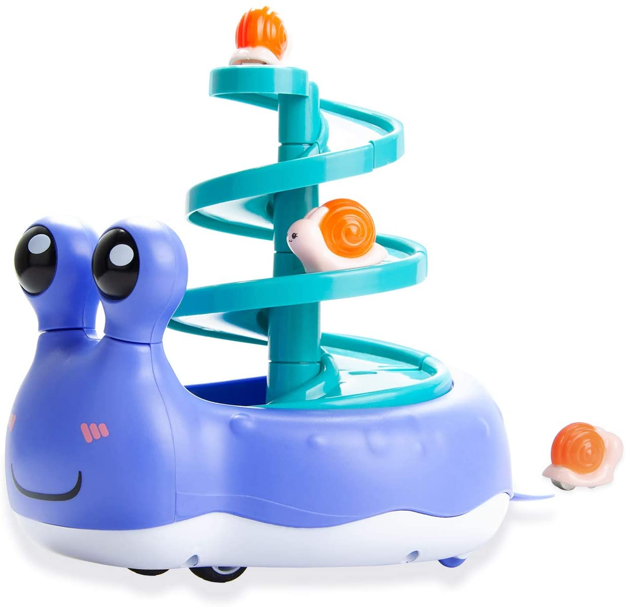 Termichy Ramp Racers, Friction Powered Cars Vehicle Playset with 3 Mini Snail Cars for Toddler Kids Boys and Girls Gift, Purple