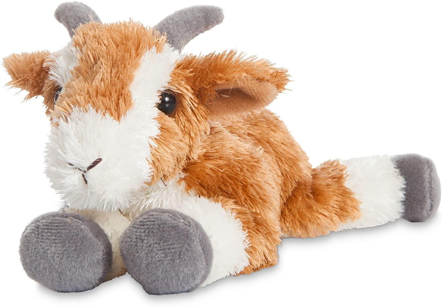Aurora, 73903, Mini Flopsies Pickles, 8In, Fluffy Goat Cuddly Toy, Multicolour, White, Orange and Grey