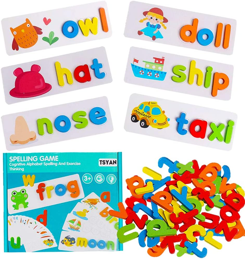 TSYAN See Spelling Learning Educational Toys Sight Word Letter Game Alphabet Flash Cards Montessori Preschool Wooden ABC Blocks STEM Matching Puzzles Gift for Kids Toddlers Girls Boys