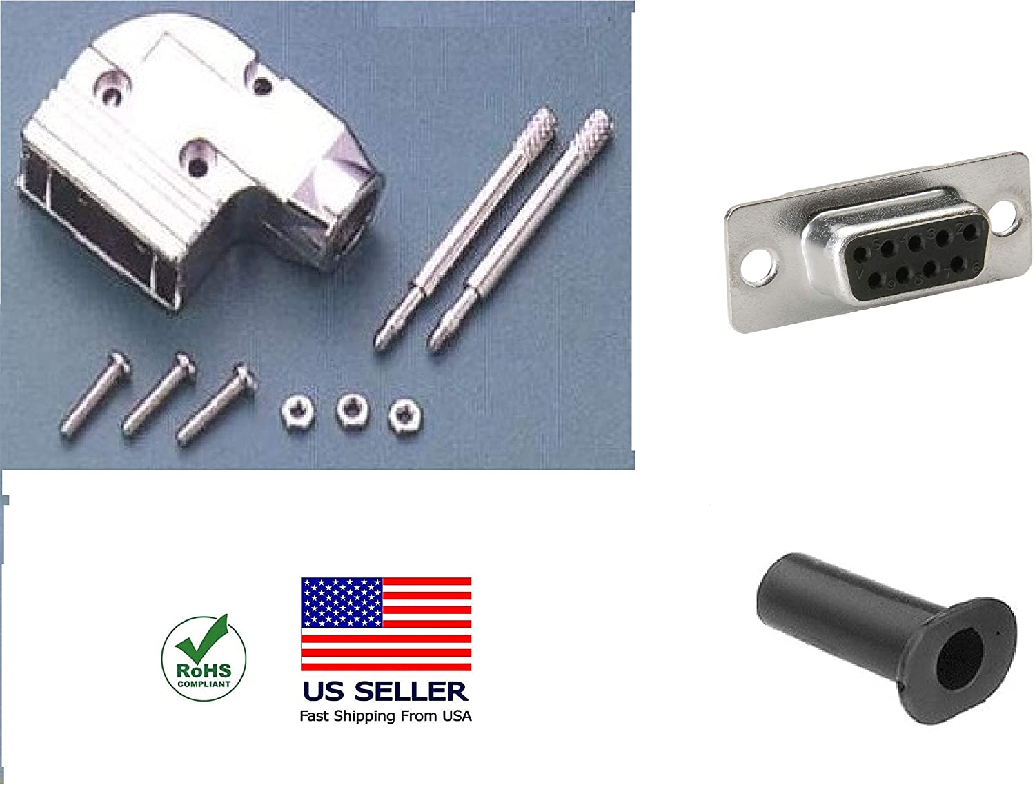 CompuCablePlusUSA.com Best DB9 Female Solder Type Connector Kit with 90 Degree Metal Hood + Strain Relief Grommet