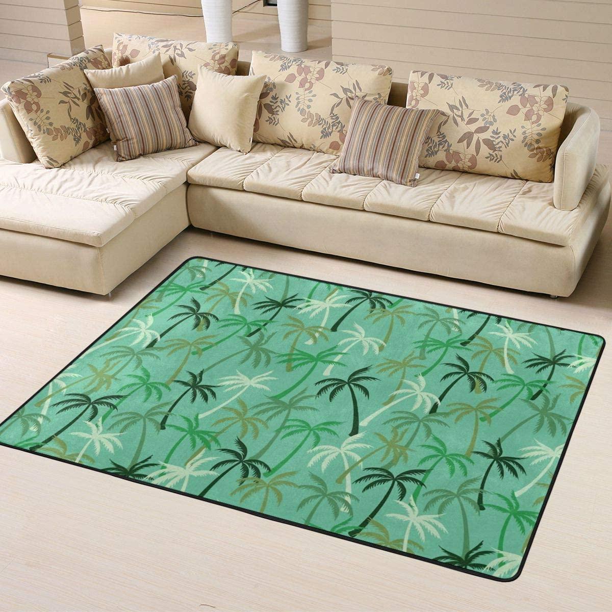 Area Rug Green Coconuts Trees Carpets Floor Indoor Mat Doormats for Kids Room Girls Room Home Decorative