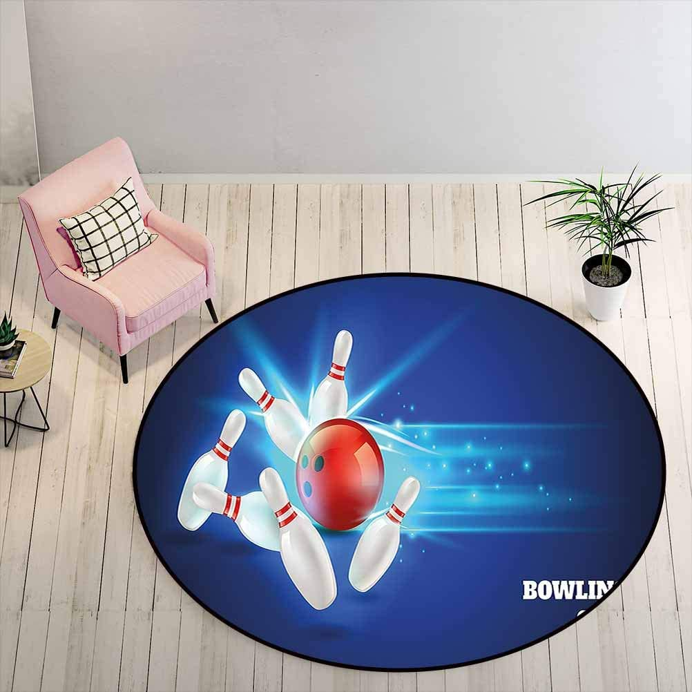 Pet Friendly Rugs Bowling Party Decorations for Living Room, Study, Kids Bedroom Bowling Strike Red Ball and Classical Pins Vivid Composition, 6 ft Diameter, Red Aqua Blue