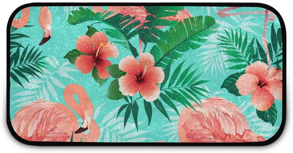 Rectangle Shaggy Rug Kitchen Rug for Kids Pink Flamingos Farmhous Anti-Slip Rug Rectangle Carpet Play Mat