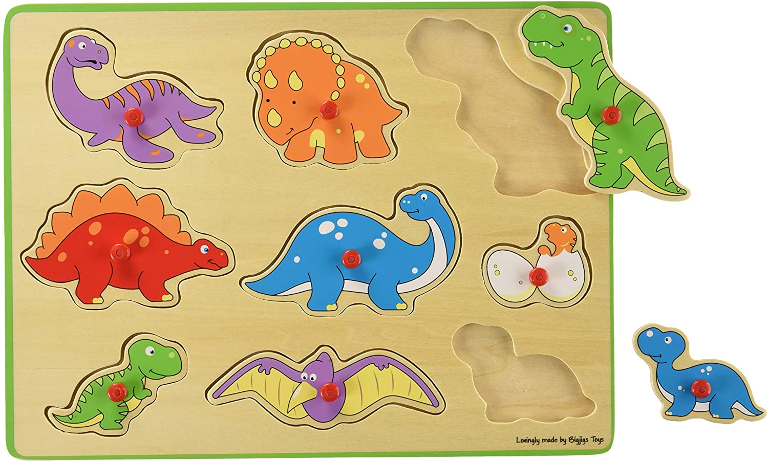 Bigjigs Toys Chunky Lift Out Puzzle - Dinosaurs, Multicolored