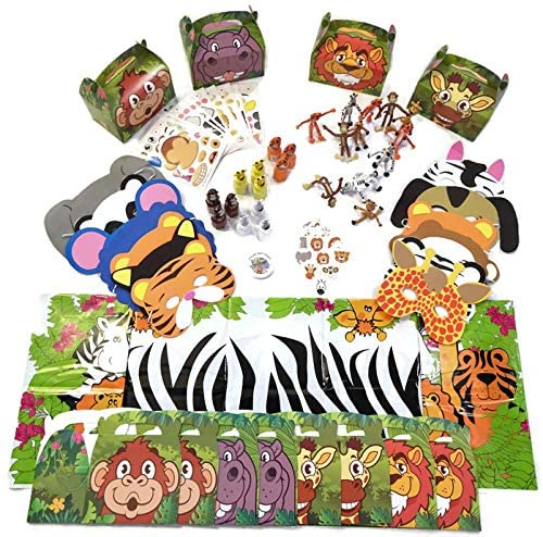Zoo Safari Animal Party Favor Pack for 12 Kids- Masks, Bubbles, Stickers, Bendable Animals, Tattoos, Tablecloth, and Birthday Button