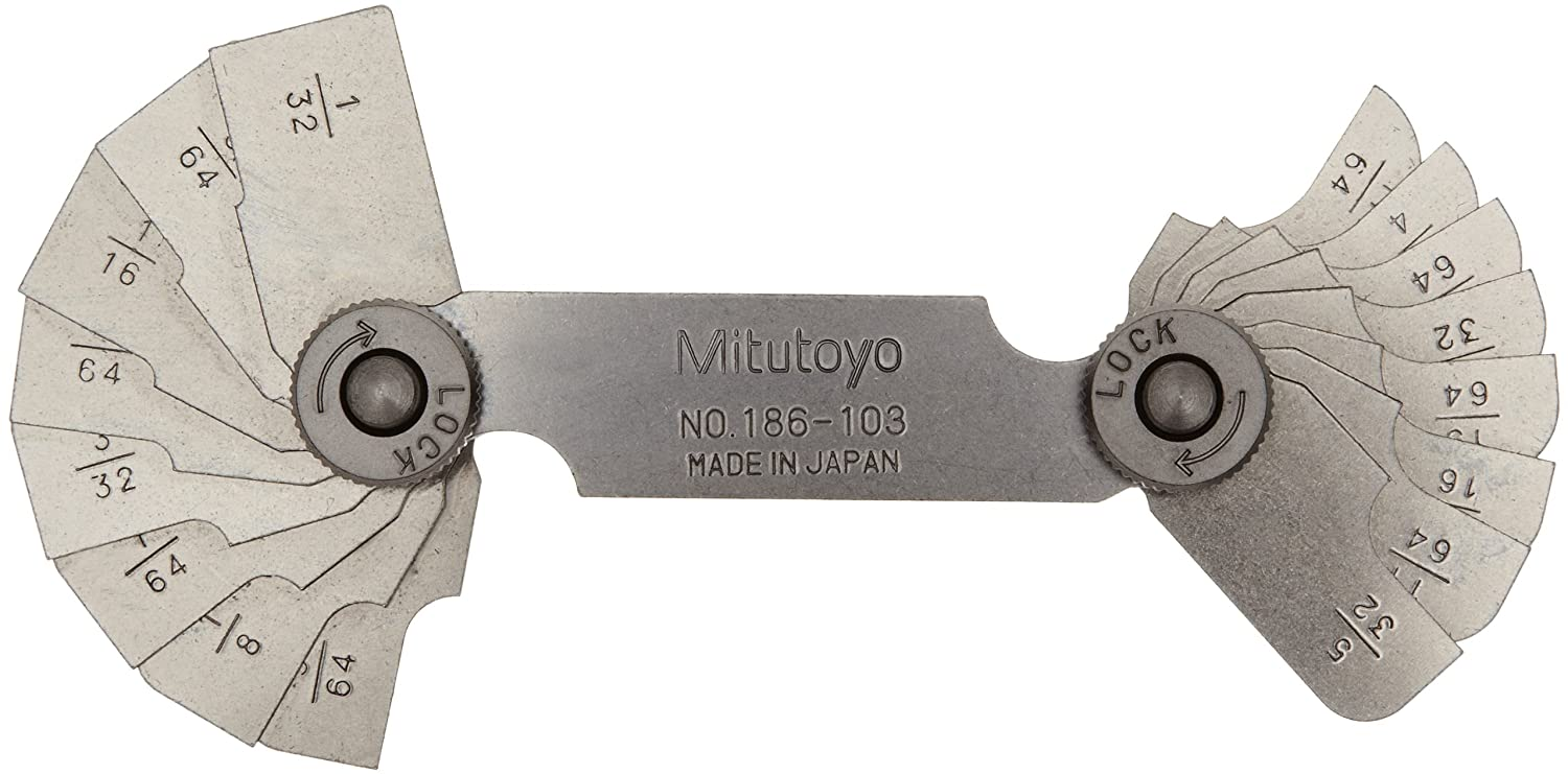Mitutoyo 186-103, Radius Gage Set, 16 Pairs of Leaves, 1/32 to 17/64 by 64ths