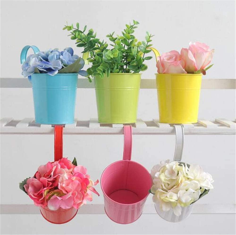 YXIUER Flower Pots,5 Pcs Metal Iron Hanging Flower Plant Pots Balcony Garden Plant Planter Baskets Fence Bucket Pots 3.94'' Flower Holders