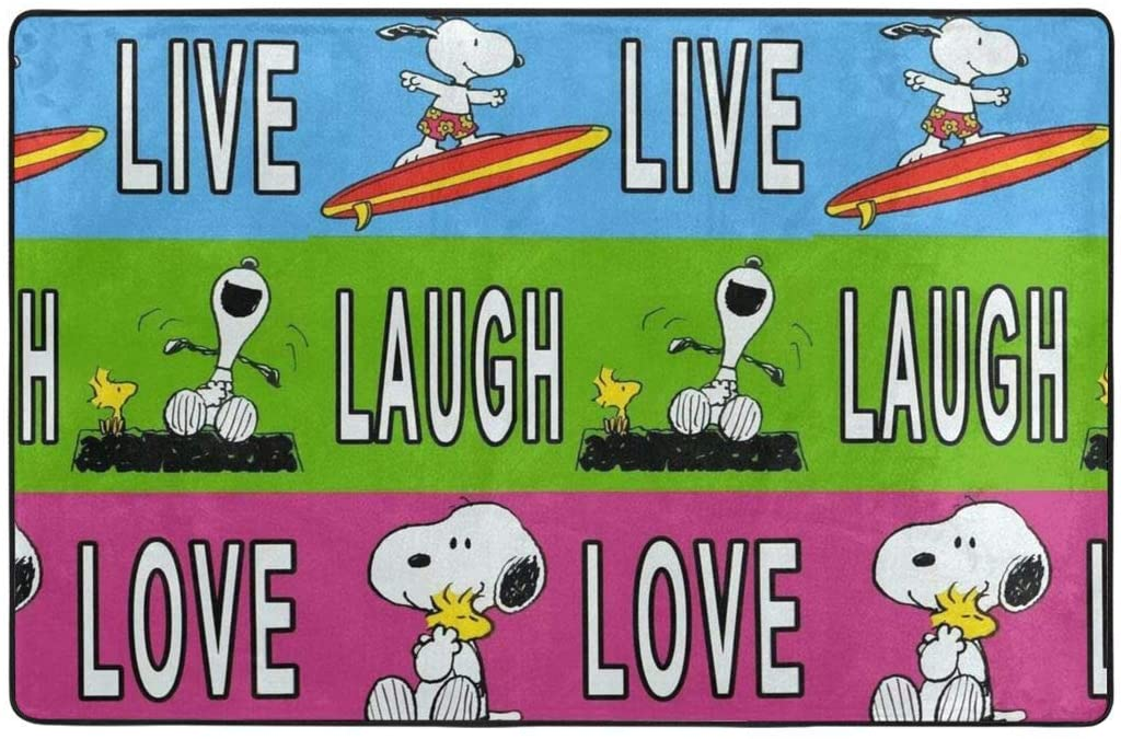 Large Soft Flannel Area Rug Anti- Skid Laugh Snoopy Carpet Bedroom Kids Room Mat Home Decor- 60 X 39 in
