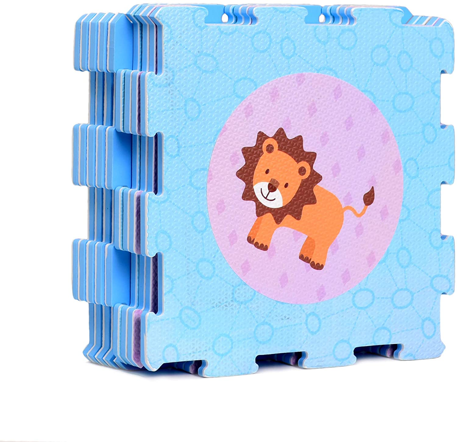 Animals and Shaps Rubber EVA Foam Puzzle Play mat Floor. 9 Interlocking playmat Tiles (Tile:12X12 Inch/9 Sq.feet Coverage). Ideal: Crawling Baby, Infant, Classroom, Toddler, Kids, Gym Workout time