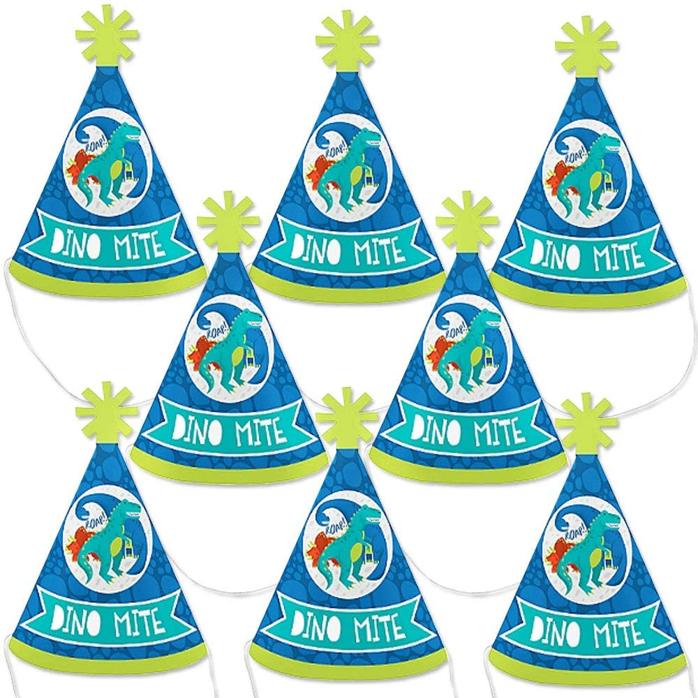 Big Dot of Happiness Roar Dinosaur - Mini Cone Dino Mite T-Rex Baby Shower or Birthday Party Hats - Small Little Party Hats - Set of 8