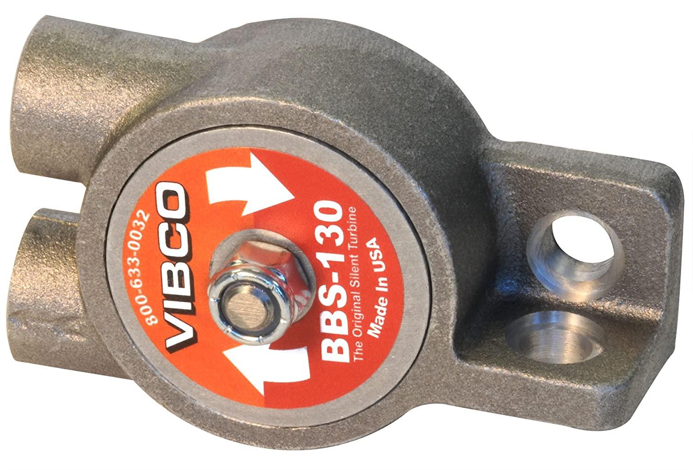 VIBCO BBS-130HS Silent Pneumatic Turbine Vibrator, 130 lb. Force, 14000 VPM, 7 CFM, 60 to 80 psi, Threaded Exhaust, Single Bolt Mount, High Speed
