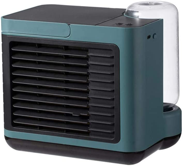 ZPEE Mini Desktop Air Cooler,Humidifier Purify Cooling Fan with Bottle,Portable Air Conditioner Fan Bladeless Fan,Evaporative Coolers Dark Green
