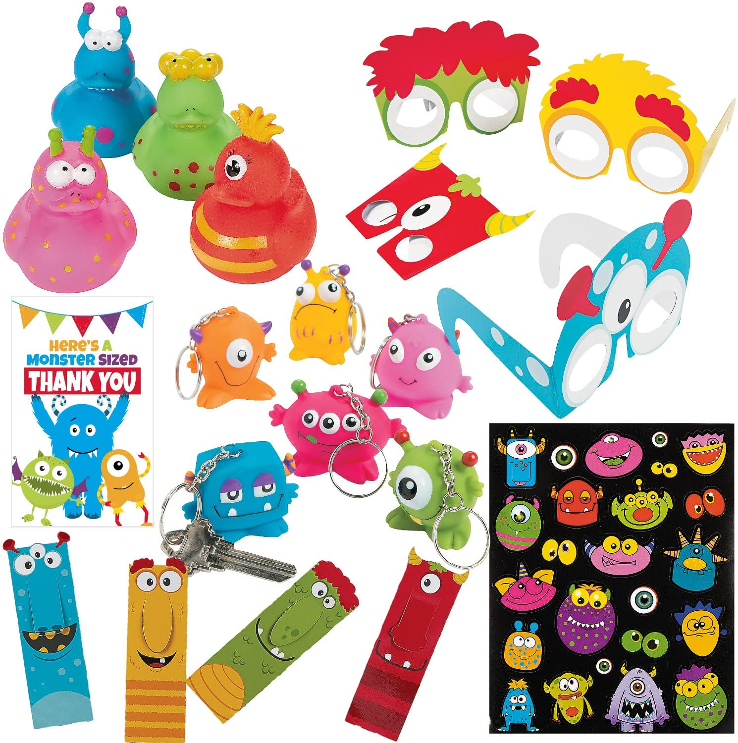 Monster Party Supplies - 116 Piece Kids Birthday Party Favors Bundle - (12) Monster Rubber Ducks, (12) Party Glasses, (12) Keychains, (48) Bookmarks, (12) Sticker Sheets, (20) Party Favor Tags