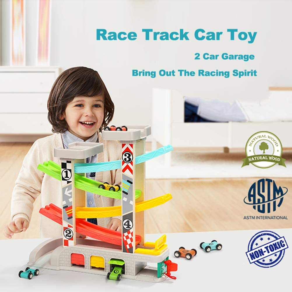 HGYYIO Toddler Toys Car Race Tracks, Wooden Ramp Racer with 4 Wooden Cars Mini Racers, Gas Station, Auto Repair Shop & 2 Car Parking Garage, for Children Over 1 Year Old Toys