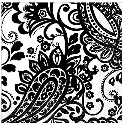 Amscan Disposable 2-Ply Lunch Napkins in Elegant Paisley Print (16 Pack), 6.5 x 6.5